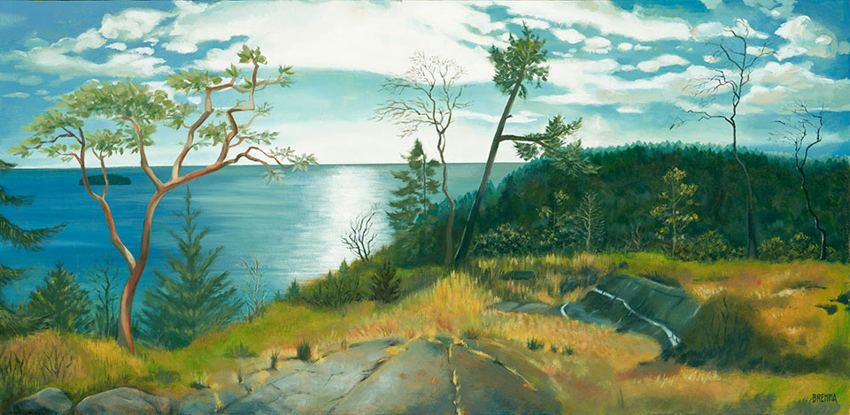 Painting of top of Gower Point hike, viewing the Pacific Ocean.