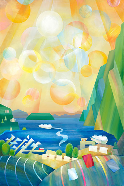 Quirkily abstract painting of Horseshoe Bay showing the terminal, marina, and the view up the Howe Sound Inlet
