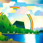 Rainbow over Mount Killam on Gambier Island as seen from Hopkins Landing. Cheerful and side-scroller inspired style.
