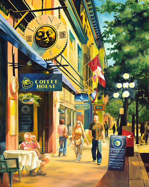 Street scene painting of Gastown, Vancouver.